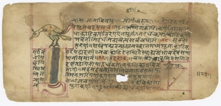 "A 1650 copy of the ""Peacock and Snake"" problem of Bhaskara II's Lilavati written circa 1200. (Picture Credit: Mathematical Association of America)"