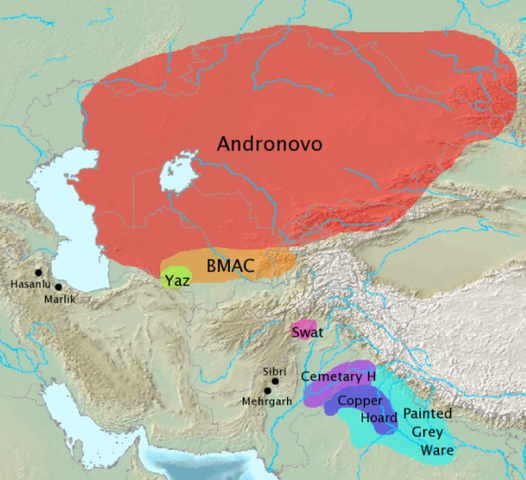 Archaeological cultures associated with Indo-Iranian migrations (after EIEC). The Andronovo, BMAC and Yaz cultures have often been associated with Indo-Iranian migrations.