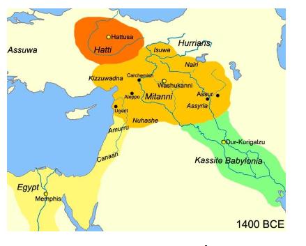 The Mitanni kingdom, located in present-day Syria and Anatolia.